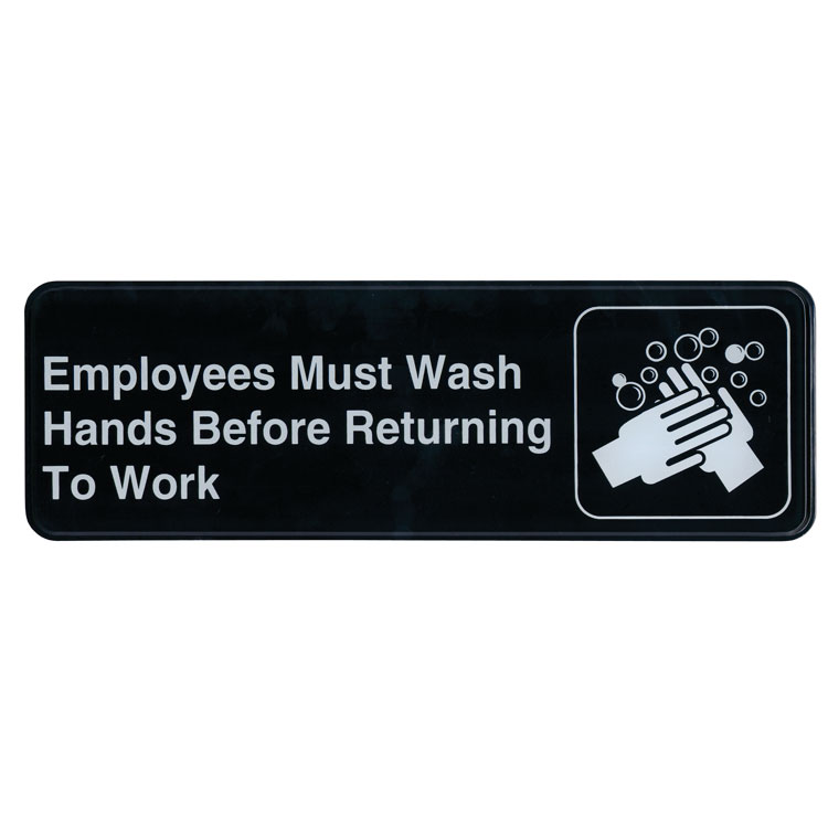 "Update International S39-25BK Employees Must Wash Hands..."" Sign - 3x9"" White on Black"