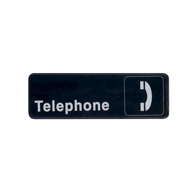 "Update International S39-28BK Telephone"" Sign - 3x9"" White on Black"