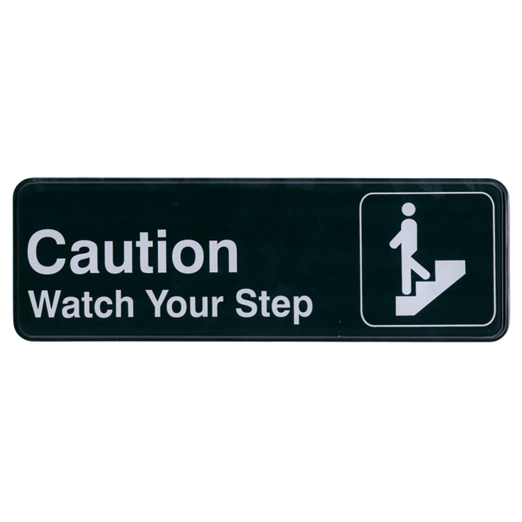 "Update International S39-29BK Caution Watch Your Step"" Sign - 3x9"" White on Black"