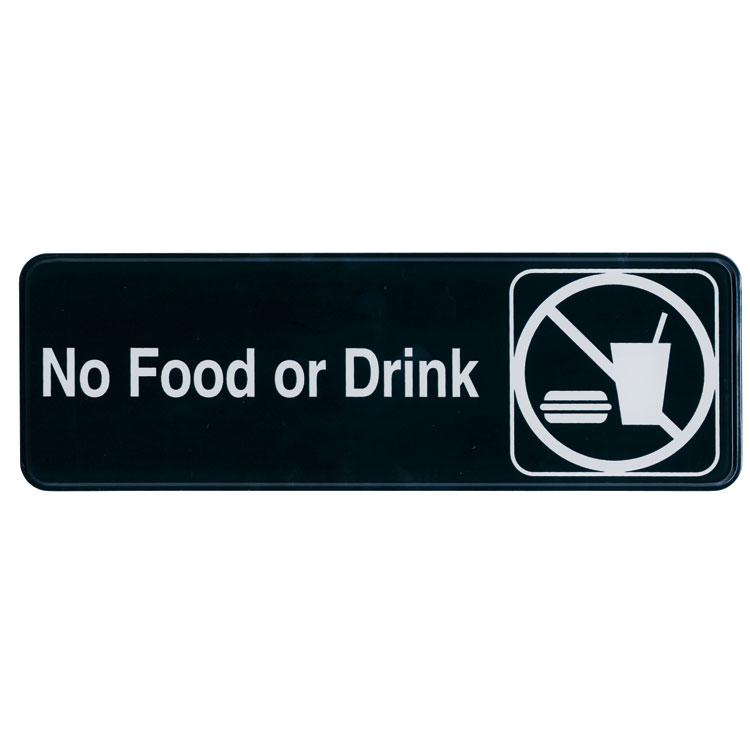 "Update International S39-30BK No Food or Drink"" Sign - 3x9"" White on Black"