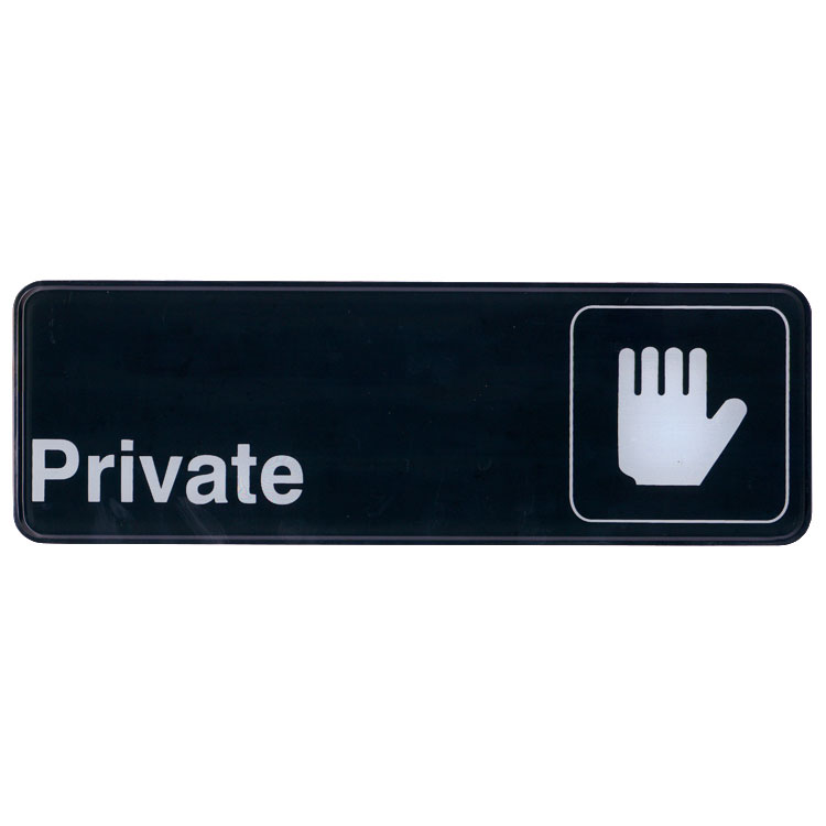 "Update International S39-3BK Private"" Sign - 3x9"" White on Black"