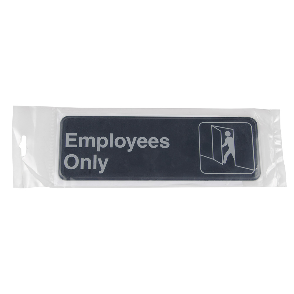 "Update International S39-4BK Employees Only"" Sign - 3x9"" White on Black"