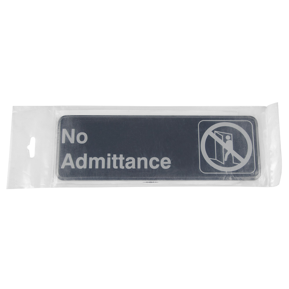 "Update International S39-5BK No Admittance"" Sign - 3x9"" White on Black"