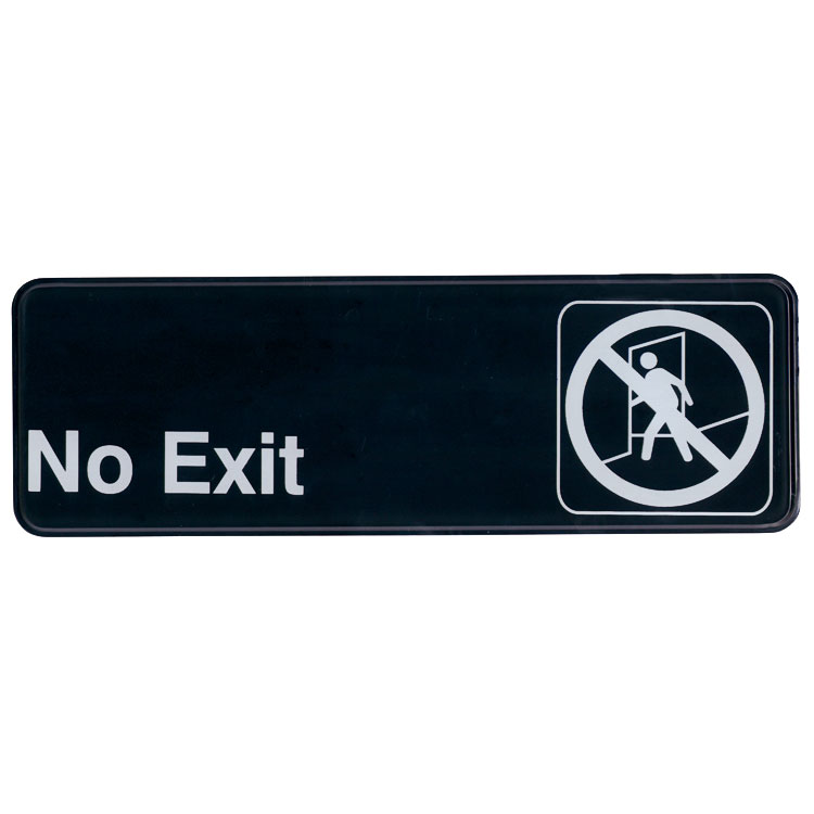 "Update International S39-6BK No Exit"" Sign - 3x9"" White on Black"