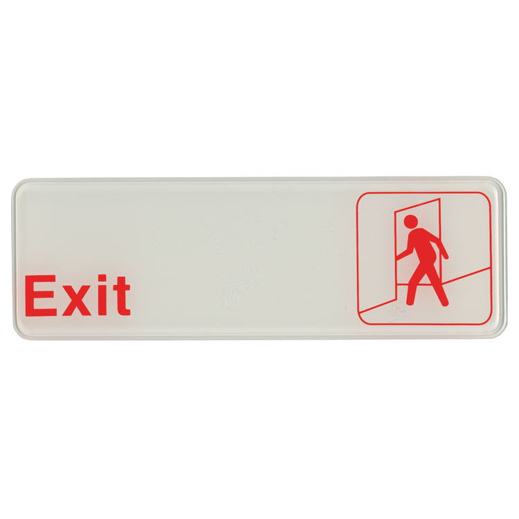 "Update S39-7RD Exit"" Sign - 3x9"" White on Black"