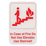 "Update S69-10RD In Case of Fireà"" Sign - 6x9"" Red on White"