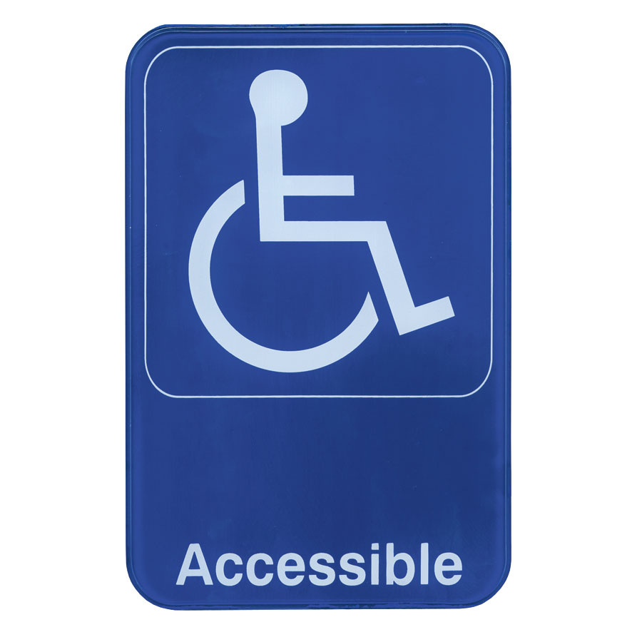"Update S69-13BL Accessible"" Sign - 6x9"" White on Blue"