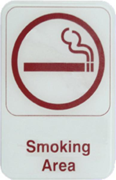 "Update S69-14RD Smoking Area"" Sign - 6x9"" Red on White"