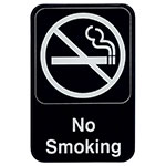 "Update S69-3BK No Smoking"" Sign - 6x9"" White on Black"