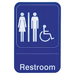 "Update International S69-7BL Restroom/Accessible"" Sign - 6x9"" White on Blue"