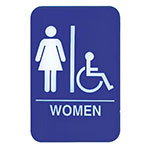 "Update S69-8BL Women/Accessible"" Sign - 6x9"" White on Blue"