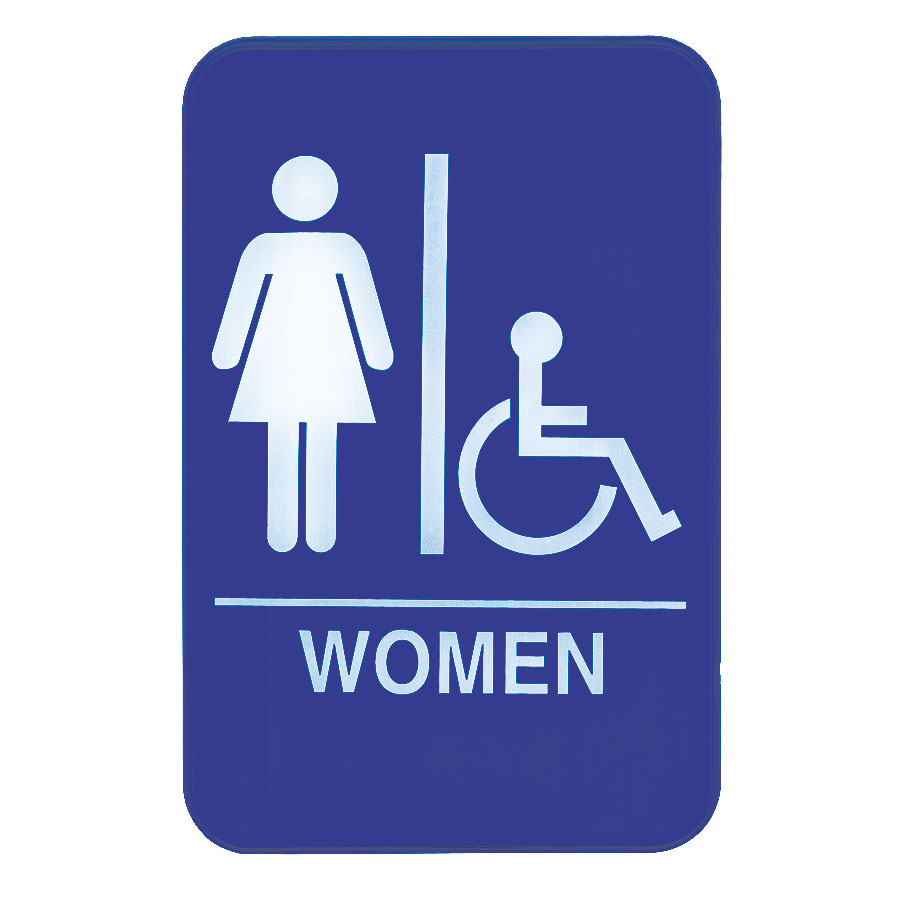 "Update International S69-8BL Women/Accessible"" Sign - 6x9"" White on Blue"