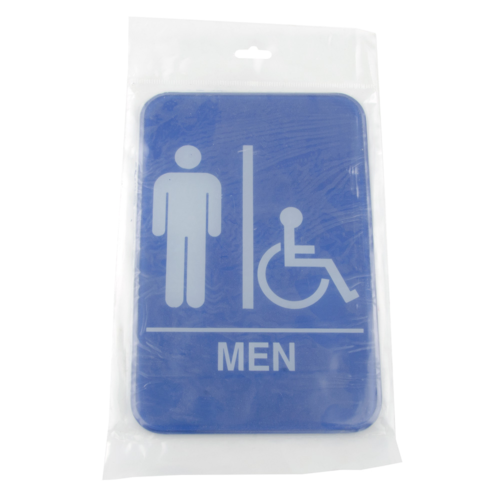 "Update International S69-9BL Men/Accessible"" Sign - 6x9"" White on Blue"