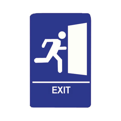 "Update International S69B-10BL Exit"" Braille Sign - 6x9"" White on Blue"