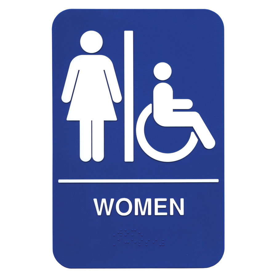 "Update International S69B-1BL Women/Accessible"" Braille Sign - 6x9"" White on Blue"