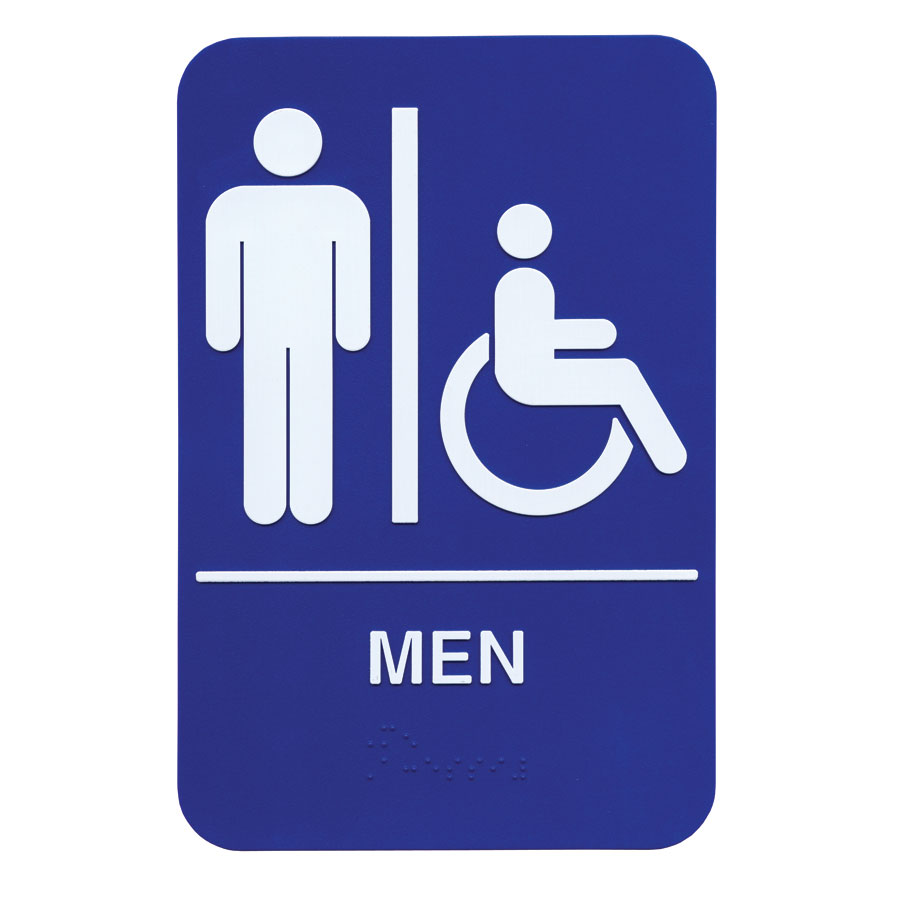 "Update S69B-2BL Men/Accessible"" Braille Sign - 6x9"" White on Blue"