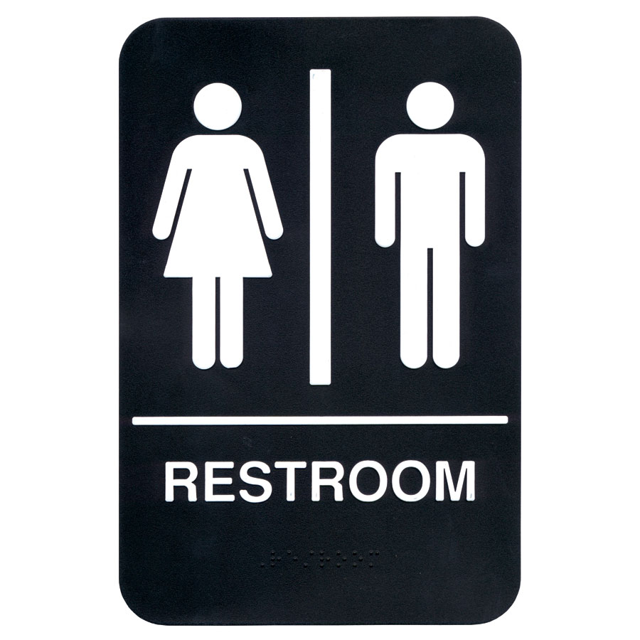 "Update International S69B-4BK Restroom"" Braille Sign - 6x9"" White on Black"