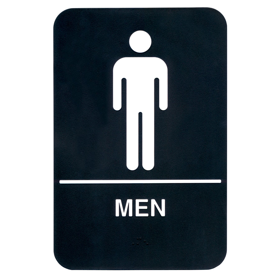 "Update S69B-6BK Men"" Braille Sign - 6x9"" White on Black"