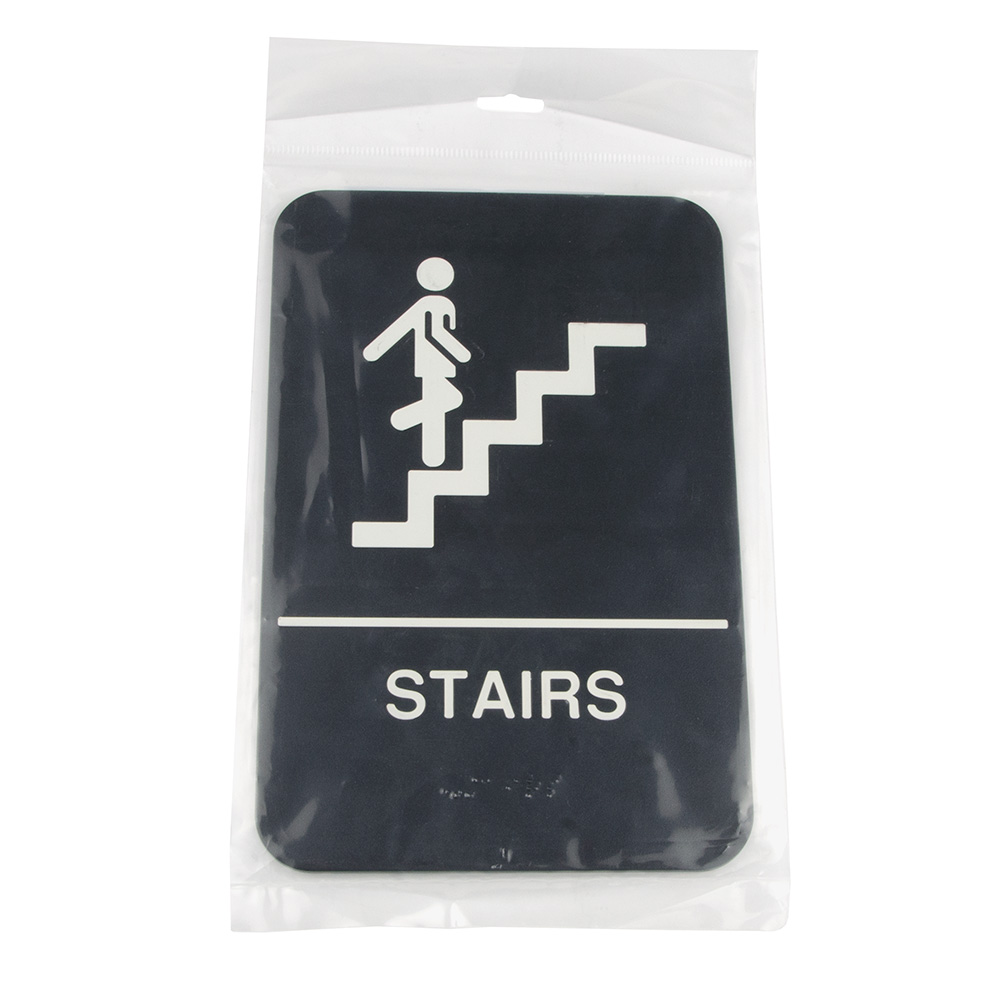"Update International S69B-8BK Stairs"" Braille Sign - 6x9"" White on Black"