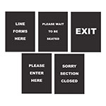 "Update International S811-SET 11.5"" x 8.5"" Sign Set, Five Signs, White on Black"
