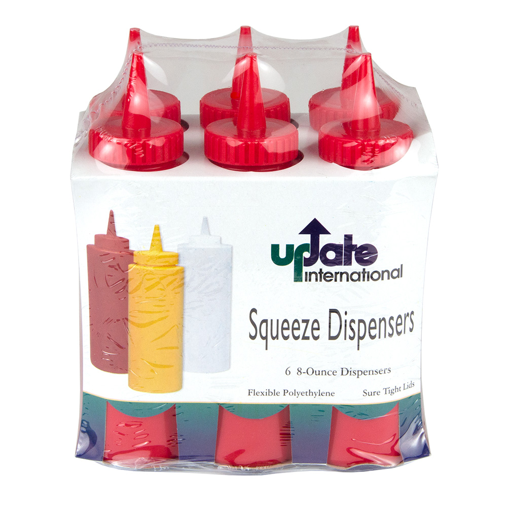 Update SBR-08 8-oz Squeeze Bottle - 6-Pack, Red