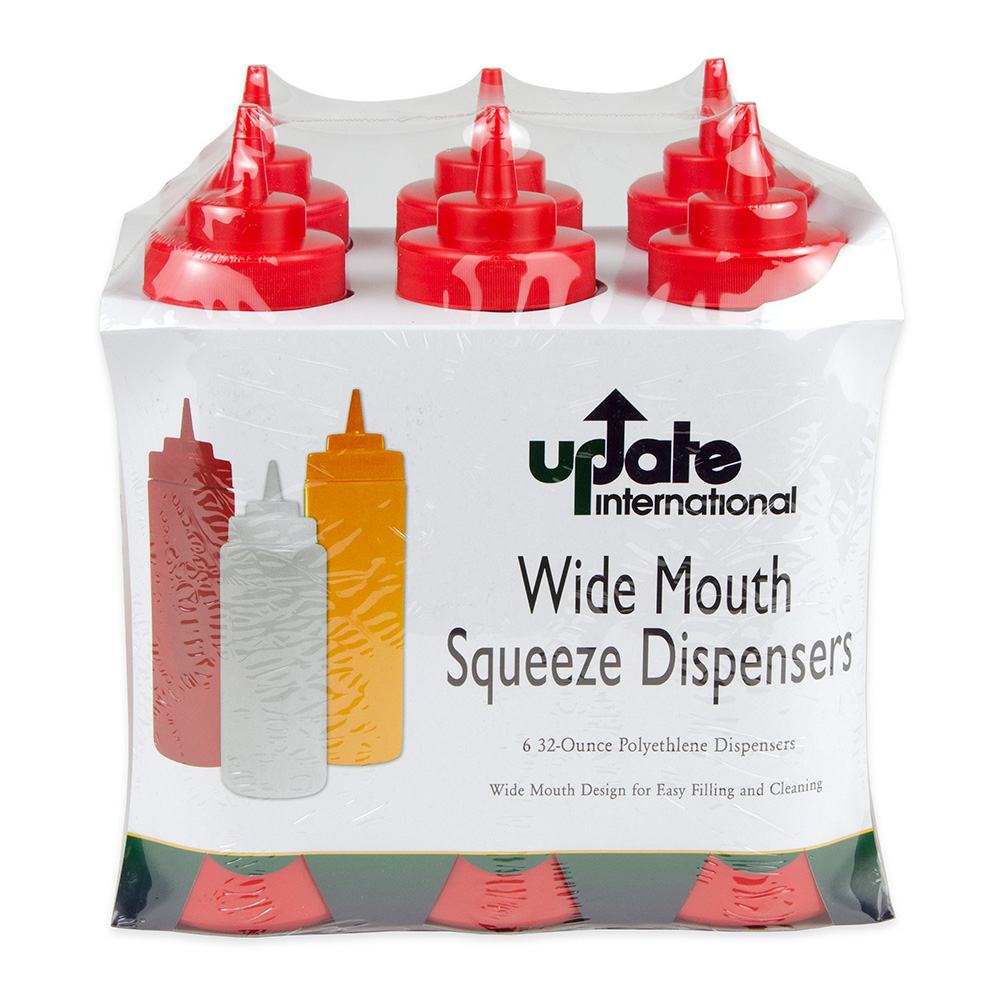 Update SBR-32W 32-oz Wide Mouth Squeeze Bottle - 6-pack, Red