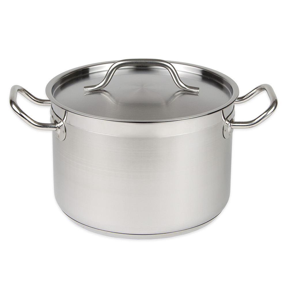 Update International SPS-8 8-qt Stock Pot w/ Cover - Induction Compatible, Stainless/Aluminum