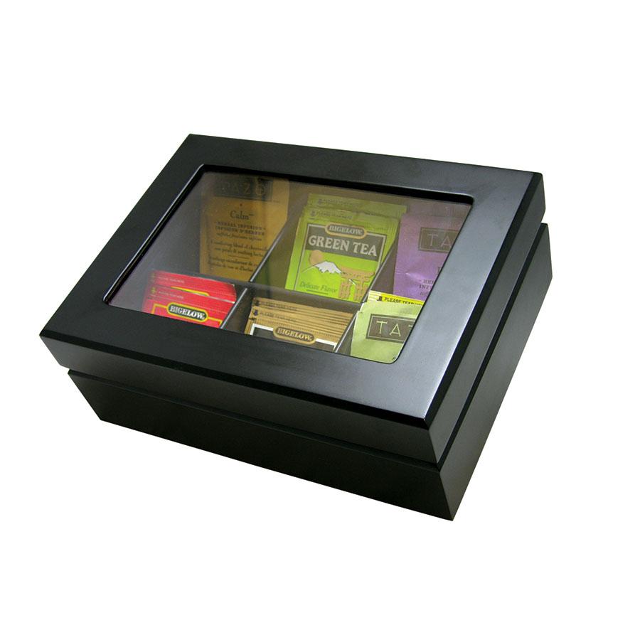 Update International TBC-6BK Wooden Tea Bag Chest - Black Matte