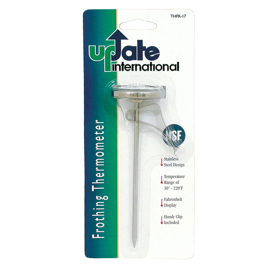 "Update International THFR-17 1-3/4"" Dial Frothing Thermometer with Clip"