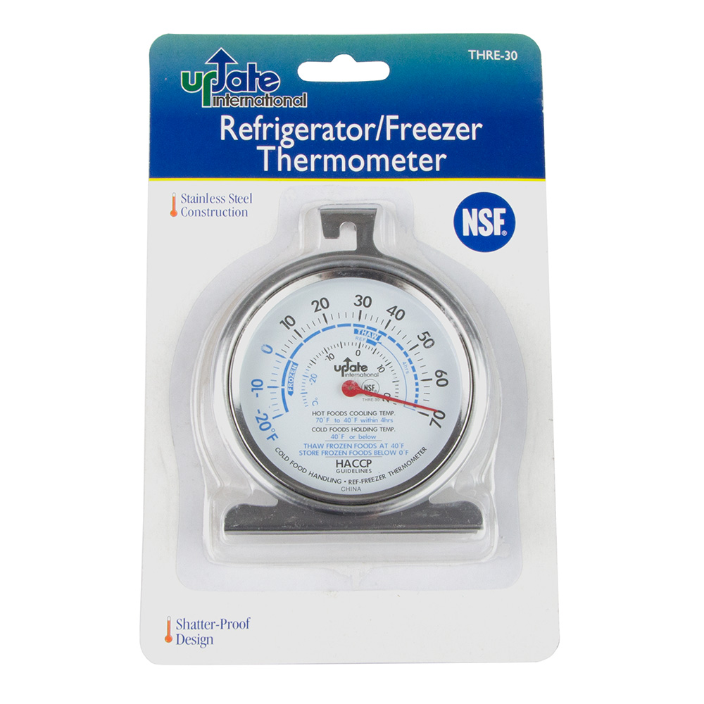 "Update International THRE-30 3"" Dial Refrigerator Thermometer, NSF"