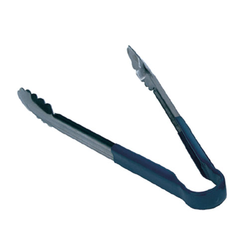 "Update TOPP-12BL 12"" Scalloped Tongs - Blue Plastic Handle, Stainless"