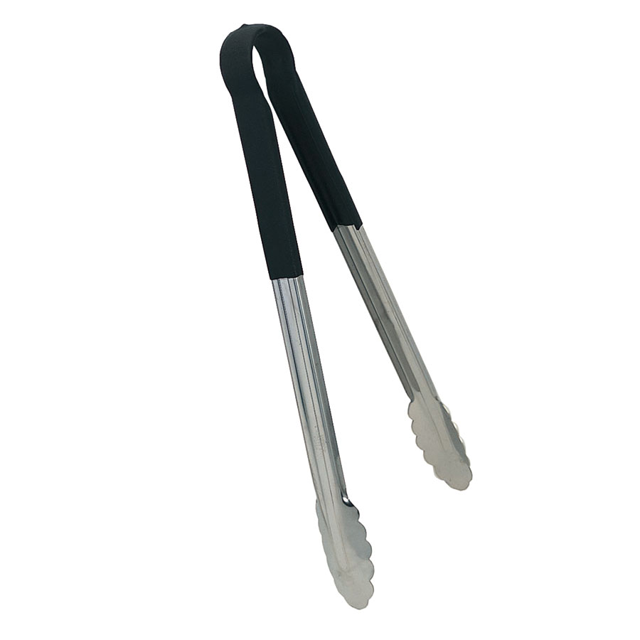 "Update International TOPP-16 16"" Scalloped Tongs - Black Plastic Handle, Stainless"