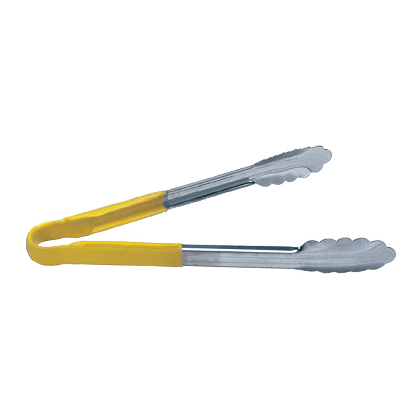 "Update TOPP-9YE 9"" Scalloped Tongs - Yellow Plastic Handle, Stainless"