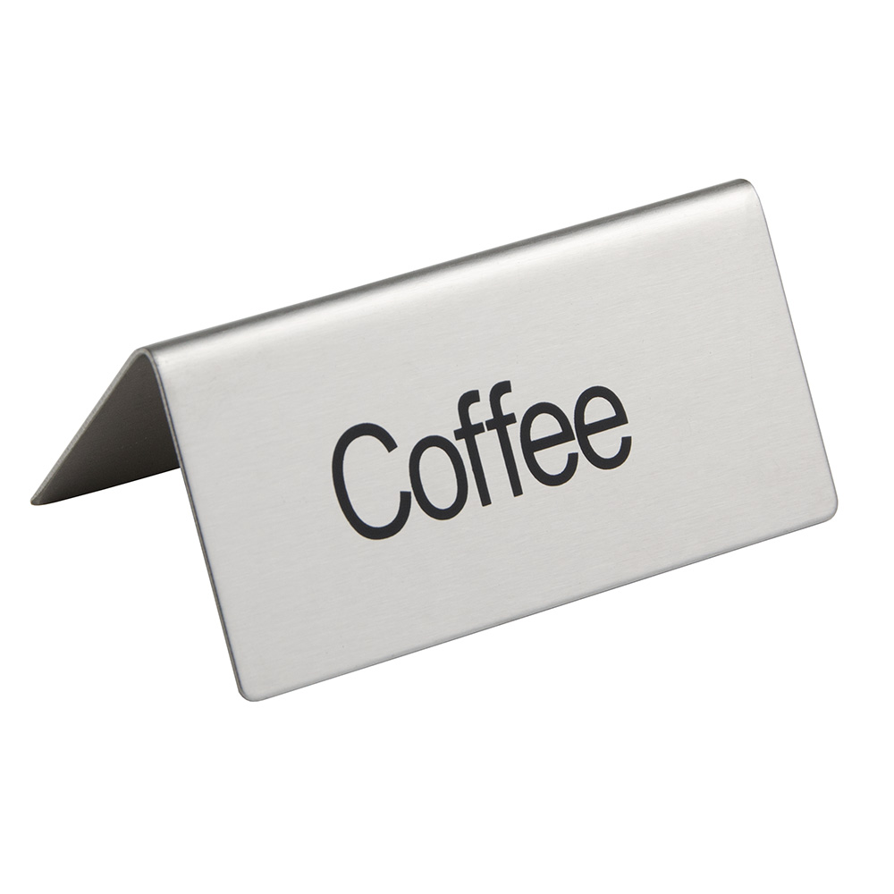 "Update TS-CFE ""Coffee"" Table Tent Sign - 1.5"" x 3"", Stainless"