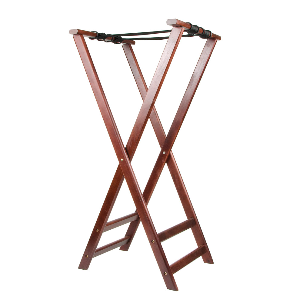 "Update International TSW-38 38"" Folding Tray Stand - Cherry Wood Finish"