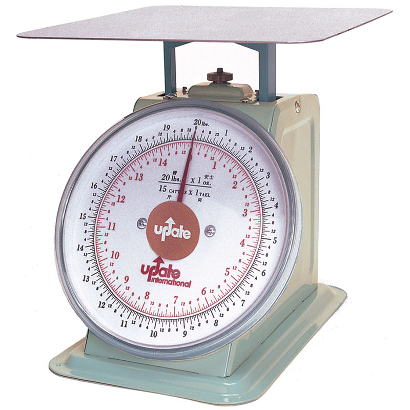 "Update International UP-820 8"" Fixed Dial Scale - 20-lb Capacity, 1-oz Graduations"