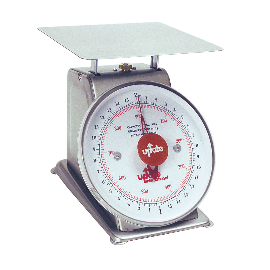 "Update UPS-72 7"" Fixed Dial Scale - 2-lb Capacity, 1/4-oz Graduations, Stainless"