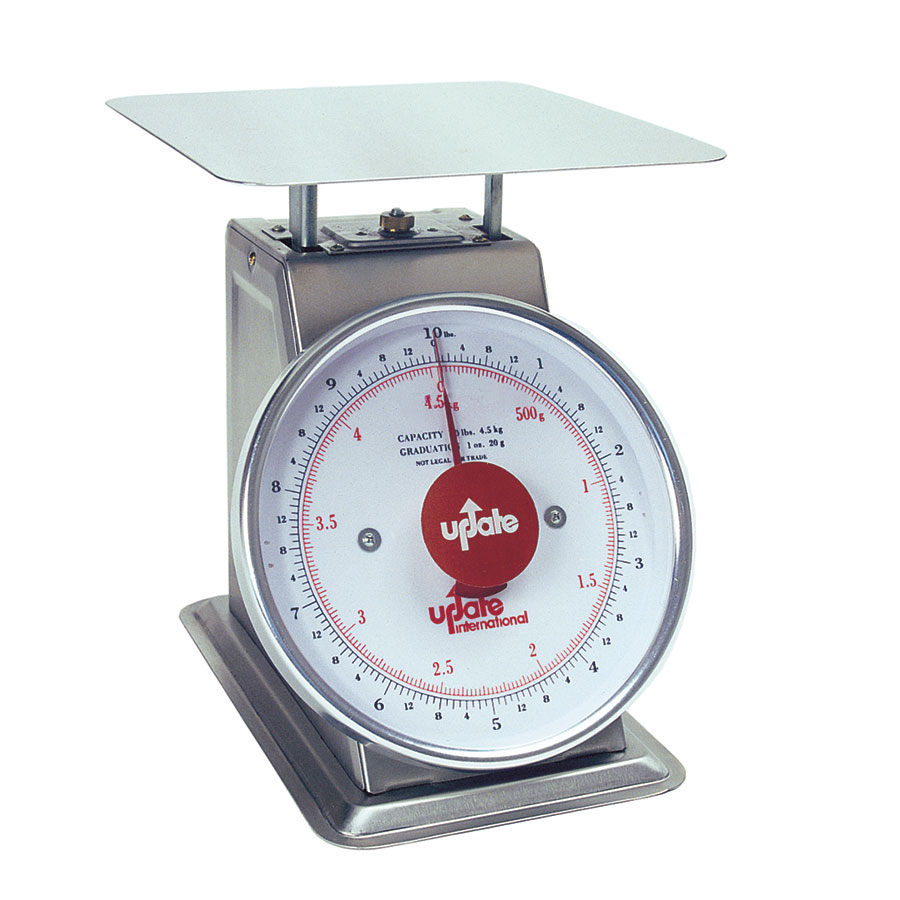 "Update UPS-810 8"" Fixed Dial Scale - 10-lb Capacity, 1-oz Graduations, Stainless"