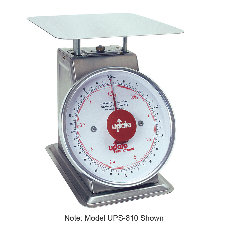 "Update UPS-820 8"" Fixed Dial Scale - 20-lb Capacity, 1-oz Graduations, Stainless"