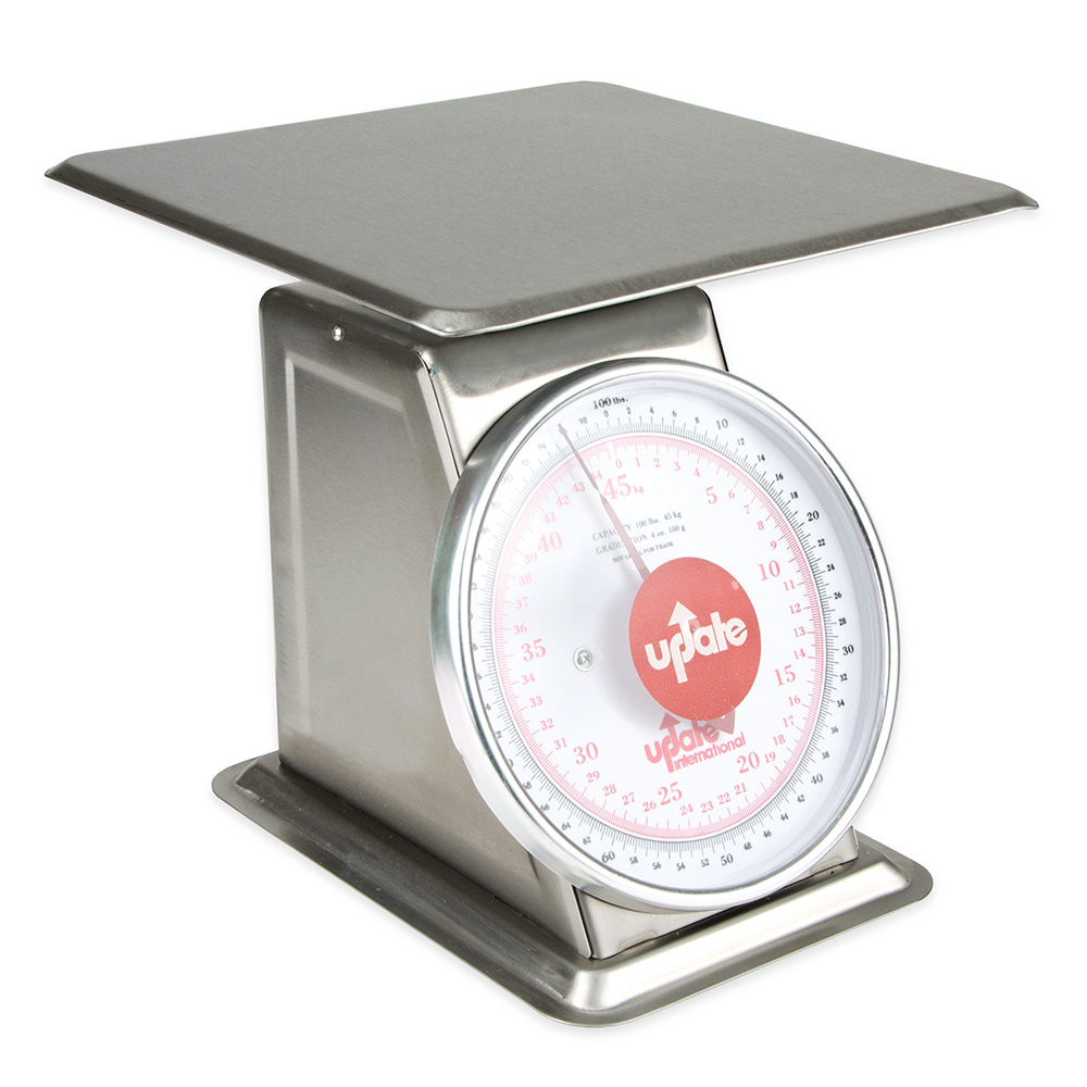 """Update UPS-9100 9"""" Fixed Dial Scale - 100-lb Capacity, 4-oz Graduations, Stainless"""