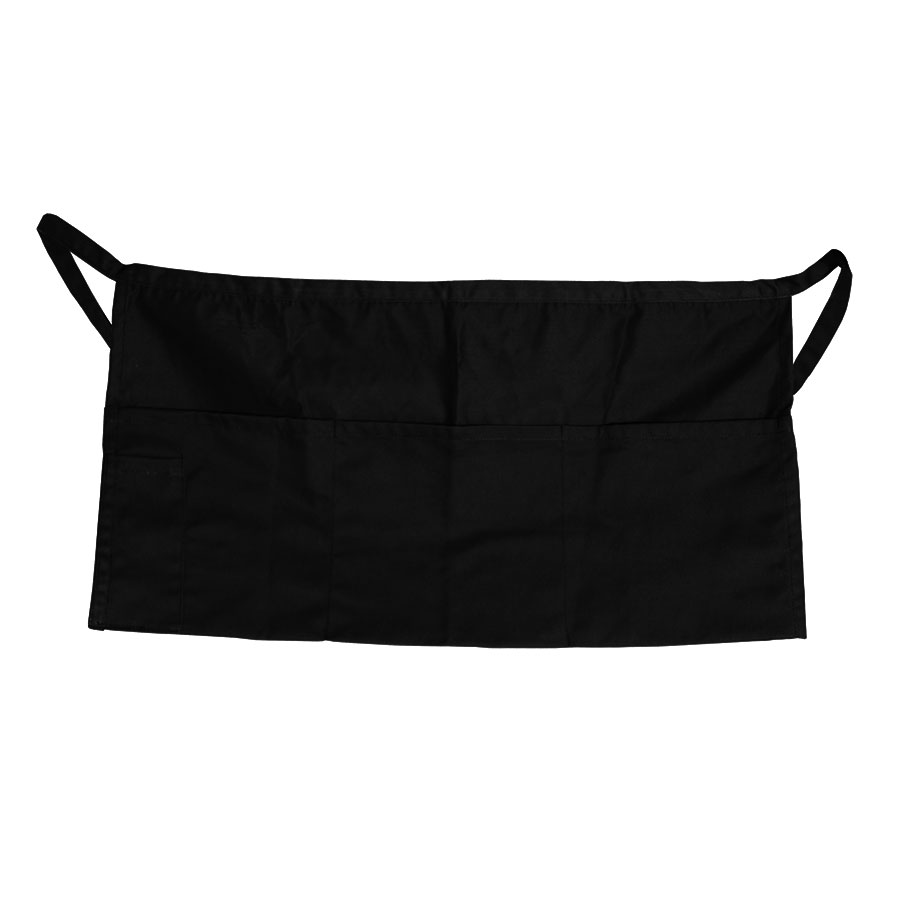 "Update WAP-BK 4-Pocket Waist Apron - 23x12"" Poly/Cotton, Black"