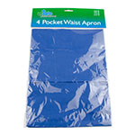 "Update WAP-BL 4-Pocket Waist Apron - 23x12"" Poly/Cotton, Blue"