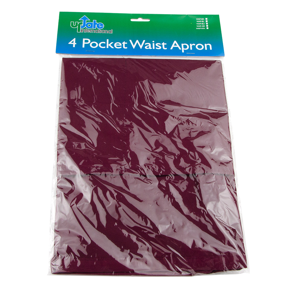 "Update WAP-BU 4-Pocket Waist Apron - 23x12"" Poly/Cotton, Burgundy"