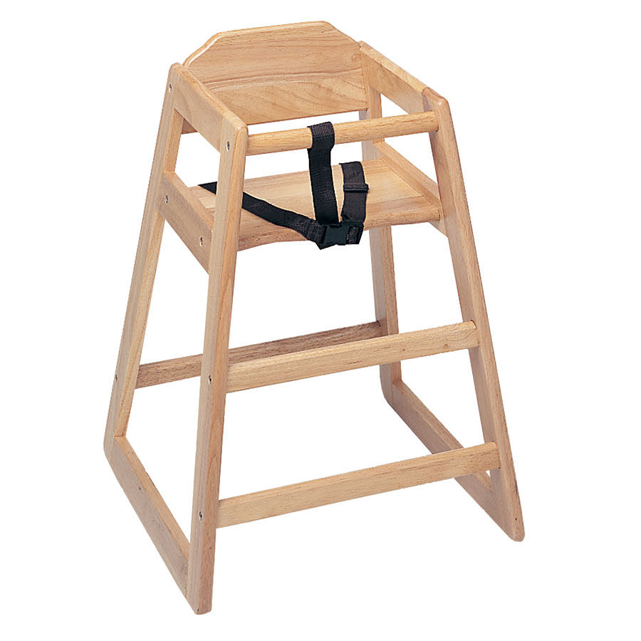 "Update WD-HC 30"" Stackable High Chair w/ Waist Strap - Wood, Light"