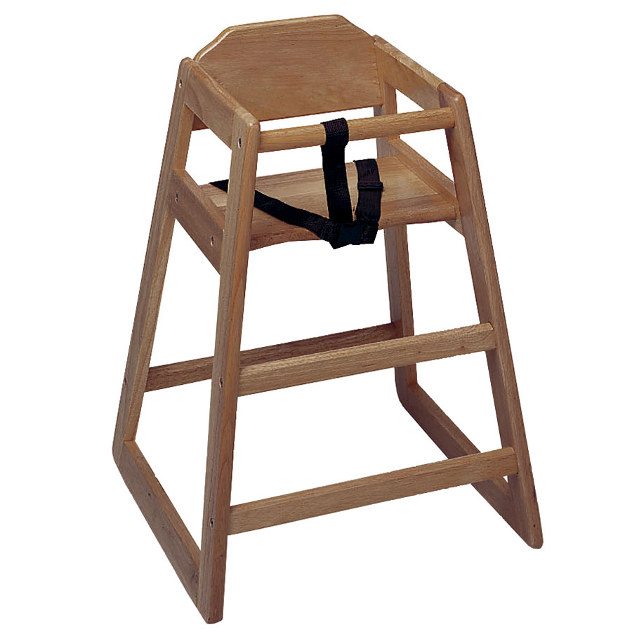 "Update WD-HCWA 30"" Stackable High Chair w/ Waist Strap - Wood, Walnut"