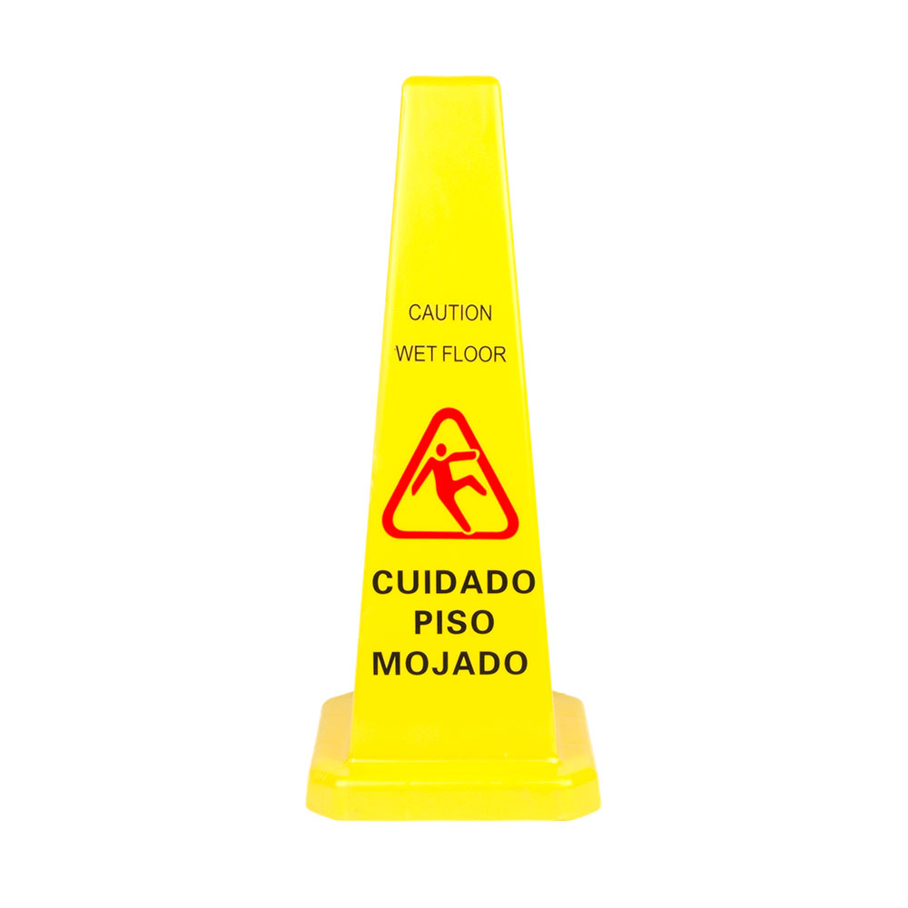 "Update International WFC-27 27"" Cone-Shaped Wet Floor Sign - Bilingual, Yellow"