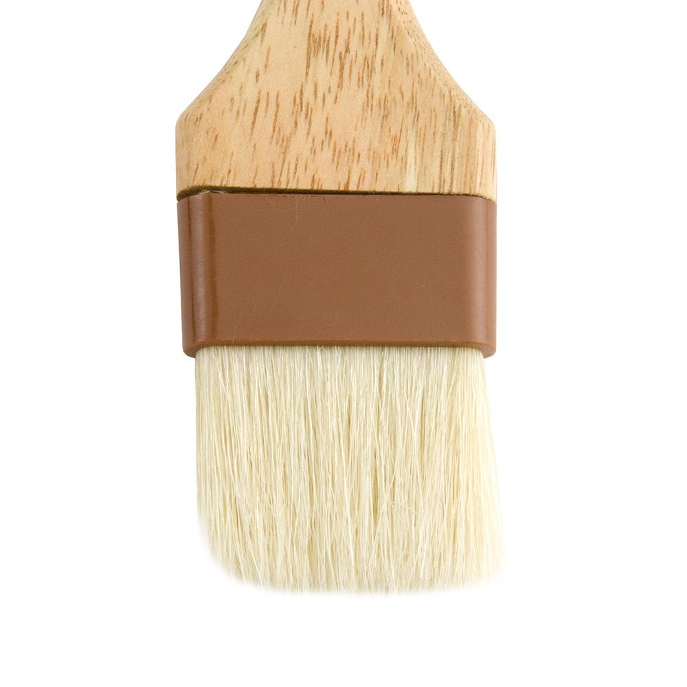 """Update WPBB-20 2"""" Flat Pastry Brush - Boar Bristles, Brown Plastic Ferrule, Wood Handle"""