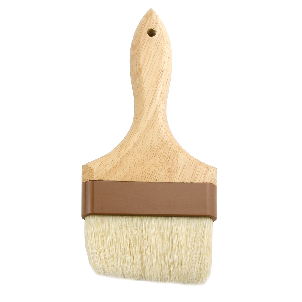 "Update International WPBB-40 4"" Flat Pastry Brush - Boar Bristles, Brown Plastic Ferrule, Wood Handle"