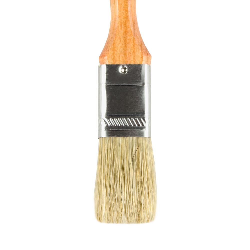 """Update WPBM-10 1"""" Flat Pastry Brush - Boar Bristles, Metal Ferrule, Wood Handle"""