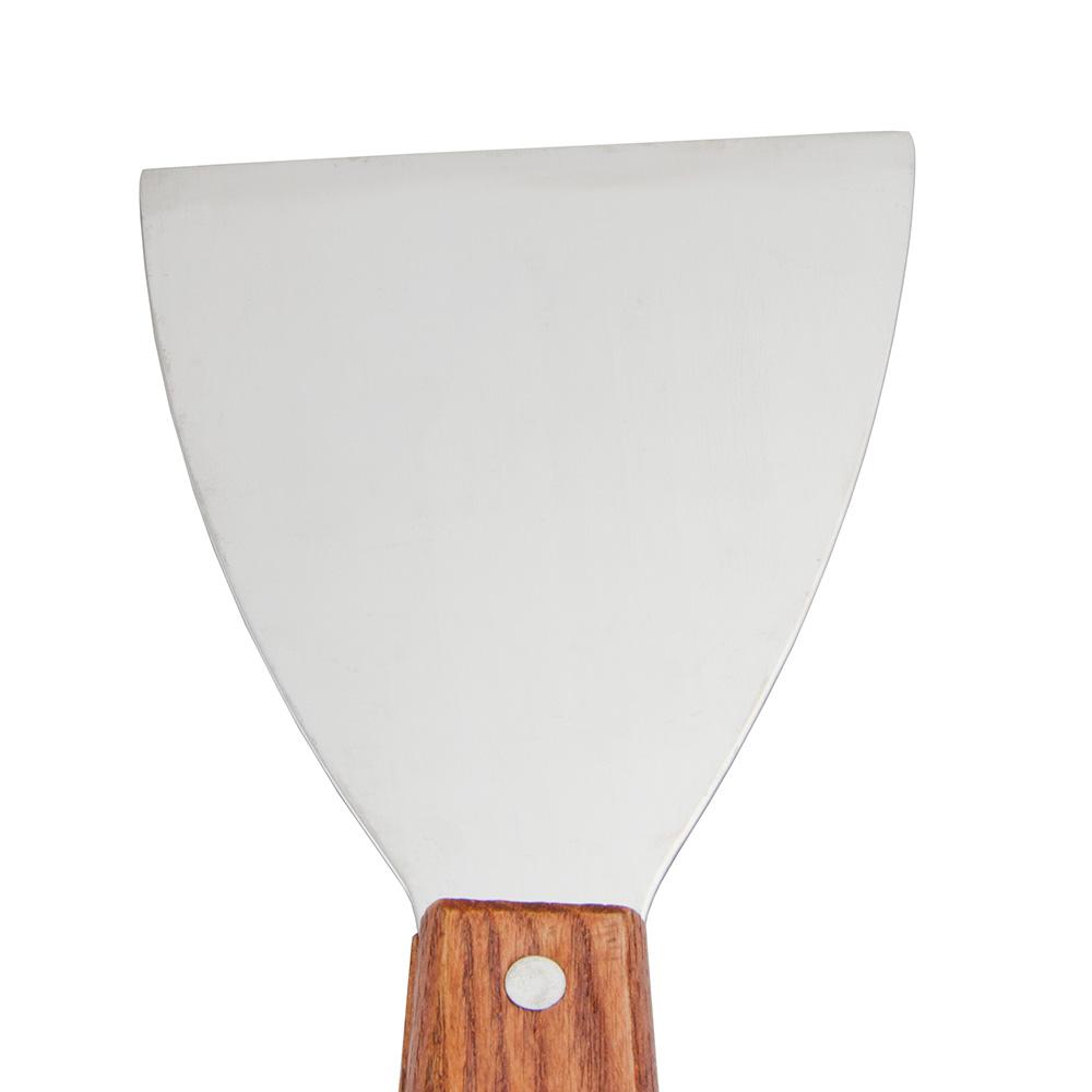 "Update WSCR-4 4"" Wide Grill Scraper - Wood Handle, Stainless"